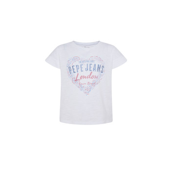 textil Flickor T-shirts Pepe jeans PIPER Vit