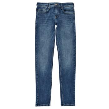 textil Pojkar Skinny Jeans Pepe jeans FINLY Blå