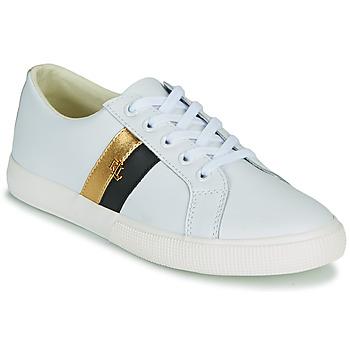 Skor Dam Sneakers Lauren Ralph Lauren JANSON II Vit / Guldfärgad