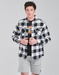 textil Herr Långärmade skjortor Dickies NEW SACRAMENTO SHIRT BLACK Svart / Vit