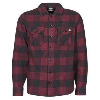 textil Herr Långärmade skjortor Dickies NEW SACRAMENTO SHIRT MAROON Bordeaux / Svart