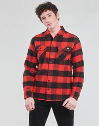 textil Herr Långärmade skjortor Dickies NEW SACRAMENTO SHIRT RED Röd / Svart