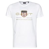 textil Herr T-shirts Gant ARCHIVE SHIELD Vit