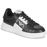 Skor Herr Sneakers Emporio Armani MALTA Svart / Vit