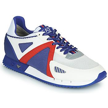 Skor Herr Sneakers Emporio Armani EA7 SAPONI Vit / Blå / Röd