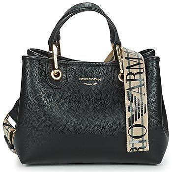 Väskor Dam Handväskor med kort rem Emporio Armani BORSA SHOPPING Svart / Guldfärgad