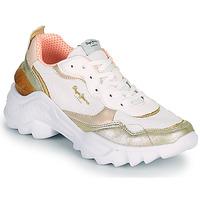 Skor Dam Sneakers Pepe jeans ECCLES TOP Vit / Guldfärgad
