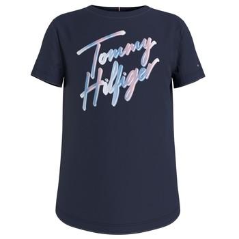 textil Flickor T-shirts Tommy Hilfiger KG0KG05870-C87 Marin