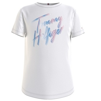 textil Flickor T-shirts Tommy Hilfiger KG0KG05870-YBR Vit