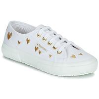 Skor Barn Sneakers Superga 2750 COTJEMBROIDERY LAMEHEARTS Vit / Guldfärgad