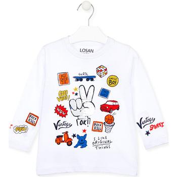 textil Barn Långärmade T-shirts Losan 025-1026AL Vit