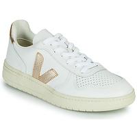 Skor Dam Sneakers Veja V-10 Vit / Guldfärgad