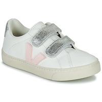 Skor Flickor Sneakers Veja SMALL ESPLAR VELCRO Vit / Guldfärgad
