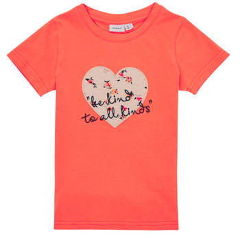 textil Flickor T-shirts Name it NMFDELFIN TOP Korall