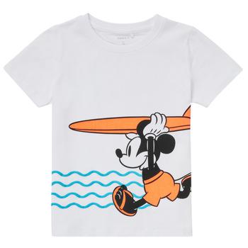 textil Pojkar T-shirts Name it NMMMICKEY Vit