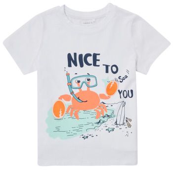 textil Pojkar T-shirts Name it NMMFANO Vit