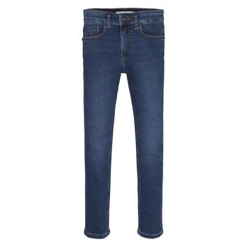 textil Pojkar Skinny Jeans Calvin Klein Jeans ESSENTIAL ROYAL BLUE STRETCH Blå
