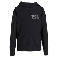 textil Pojkar Sweatshirts Calvin Klein Jeans HYBRID LOGO ZIP THROUGH Svart