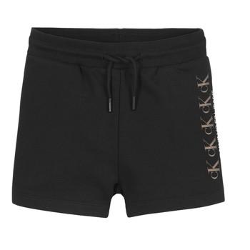 textil Flickor Shorts / Bermudas Calvin Klein Jeans CK REPEAT FOIL KNIT SHORTS Svart