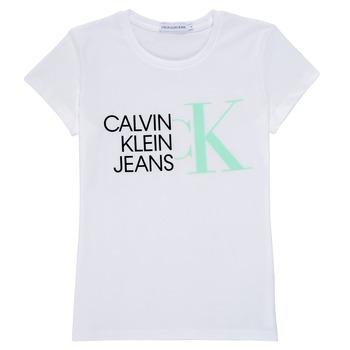 textil Flickor T-shirts Calvin Klein Jeans HYBRID LOGO SLIM T-SHIRT Vit