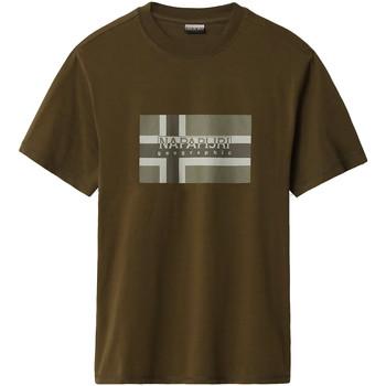 textil Herr T-shirts Napapijri NP0A4E38 Grön