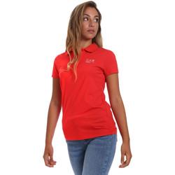 textil Dam Kortärmade pikétröjor Ea7 Emporio Armani 3HTF57 TJ29Z Röd
