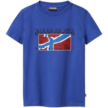 textil Barn T-shirts Napapijri NP0A4E52 Blå