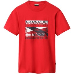 textil Herr T-shirts Napapijri NP0A4E35 Röd