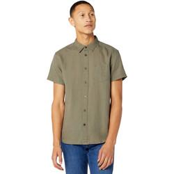 textil Herr Kortärmade skjortor Wrangler W5J1LOX45 Grön