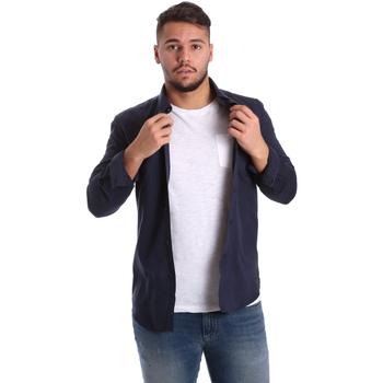 textil Herr Långärmade skjortor Antony Morato MMSL00408 FA400047 Blå