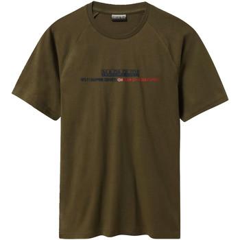 textil Herr T-shirts Napapijri NP0A4E37 Grön