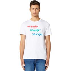 textil Herr T-shirts Wrangler W7D7D3989 Vit