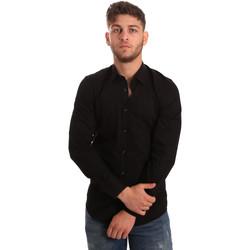 textil Herr Långärmade skjortor Antony Morato MMSL00472 FA450001 Svart
