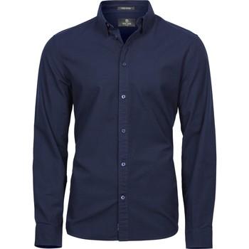 textil Herr Långärmade skjortor Tee Jays TJ4010 Marinblått