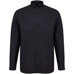 textil Herr Långärmade skjortor Henbury H512C Svart