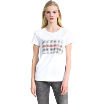 textil Dam T-shirts Calvin Klein Jeans J20J207974 Vit