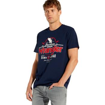textil Herr T-shirts Wrangler W7C08F Blå