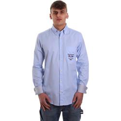 textil Herr Långärmade skjortor Navigare NV91061 BD Blå