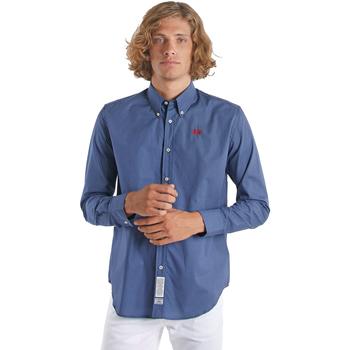 textil Herr Långärmade skjortor La Martina OMC015 PP461 Blå