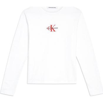 textil Dam Långärmade T-shirts Calvin Klein Jeans J20J211804 Vit
