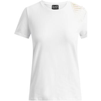 textil Dam T-shirts Ea7 Emporio Armani 6GTT07 TJ12Z Vit