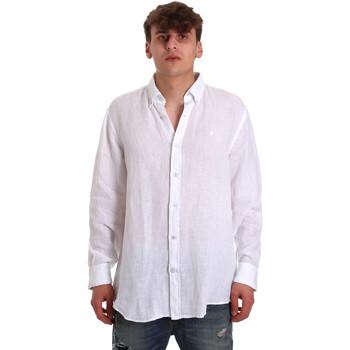 textil Herr Långärmade skjortor Navigare NV91108 Vit