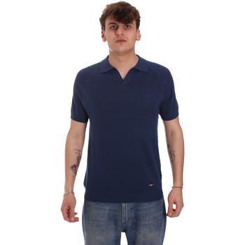 textil Herr Långärmade pikétröjor  Gaudi 011BU53010 Blå
