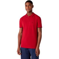 textil Herr Kortärmade pikétröjor Wrangler W7D5K4X47 Röd