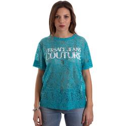 textil Dam T-shirts Versace B2HVB70804748207 Blå