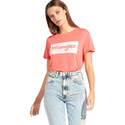 textil Dam T-shirts Wrangler W7016D Röd