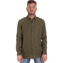 textil Herr Långärmade skjortor Les Copains 9U2371 Grön