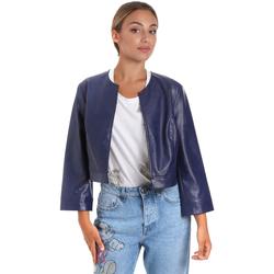 textil Dam Skinnjackor & Jackor i fuskläder Fracomina FR20SM708 Blå