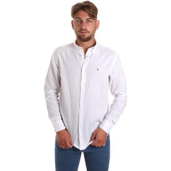 textil Herr Långärmade skjortor Les Copains 9U2371 Vit