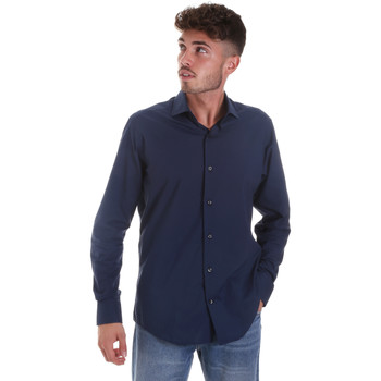 textil Herr Långärmade skjortor Les Copains 18P.884 P3196SL Blå